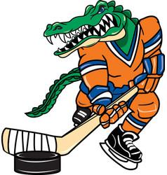gator sports hockey logo mascot vector image