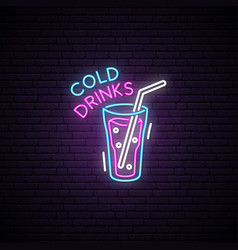 glowing glass of cold drink neon sign signboard vector image