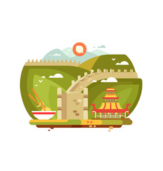 Great wall china landscape for travel design vector