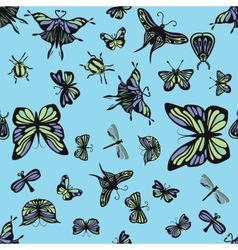 Green and purple insects seamless pattern vector