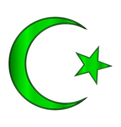 Green star and crescent icon vector