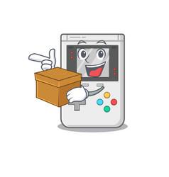 Handheld game scroll cartoon character bringing a vector