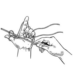 Hands of woman knitting with wool vector image