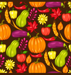 Harvest seamless pattern with fruits vector