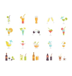 icons of cocktails and drinks vector image