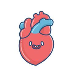 kawaii smiling human heart vector image