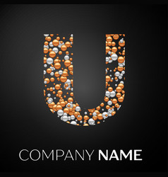 letter u logo gold-silver dots alphabet logotype vector image