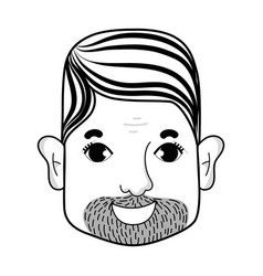line man face with hairstyle and beard vector image