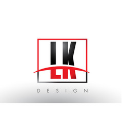 lk l k logo letters with red and black colors and vector image