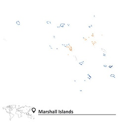 Map of Marshall Islands with flag vector
