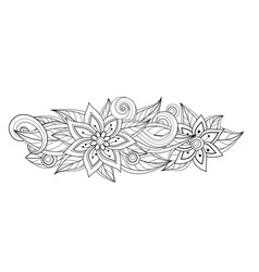Monochrome floral composition in oval shape vector
