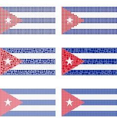 Mosaic Cuba flag set vector