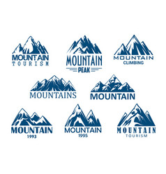 mountain peak icon for outdoor adventure design vector image