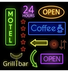 Neon glow signs vector
