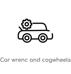 Outline car wrenc and cogwheels icon isolated vector