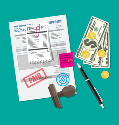Paper invoice form pinned receipt bill pen vector