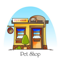 Pet shop or animal store building facade vector