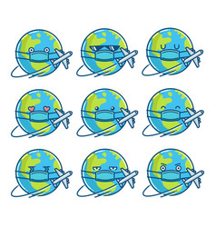 Planet earth cartoons wearing protective face mask vector