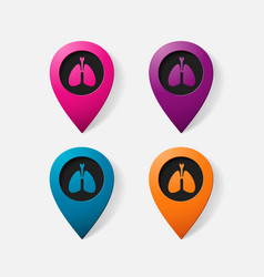 Realistic color pointer lungs vector