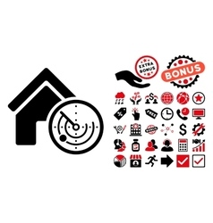 Realty Radar Flat Icon with Bonus vector image
