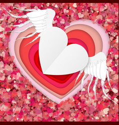 Red and white paper hearts isolated on red vector
