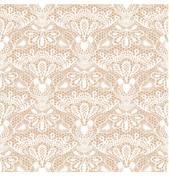 seamless detailed lace pattern on beige background vector image