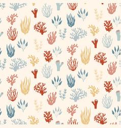 Seamless marine pattern underwater plants vector