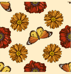 seamless pattern with hand drawn colored poppy vector image