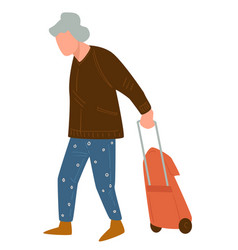 senior character walking with suitcase traveling vector image