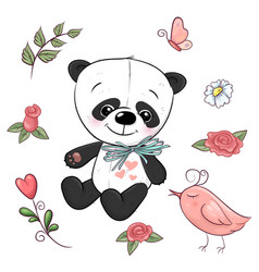 set little panda and flowers hand drawing vector image