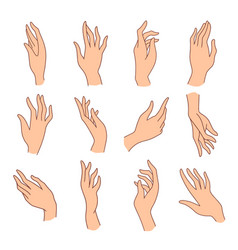 set minimalistic colored female hands art vector image