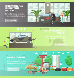 set of cars horizontal banners in flat vector image
