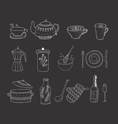 Set of kitchenware on the white background vector