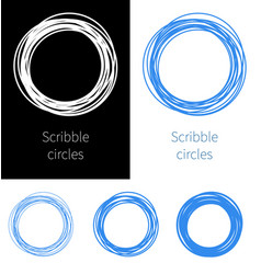 Set scribble circle blue pen with different vector
