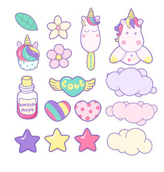 set unicorns and different magic elements vector image