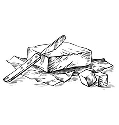 sketch hand drawn piece of butter wrapped in paper vector image