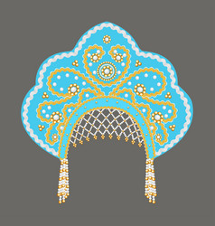 stock russian national headdress kokoshnik with vector image