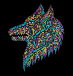 Stylized dog in ethnic vector
