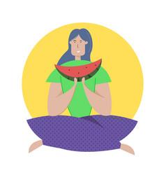 tasting watermelon flat girl vector image