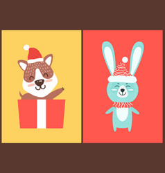 teddy bear and rabbit in santa hats christmas card vector image