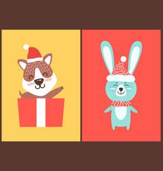 Teddy bear and rabbit in santa hats christmas card vector