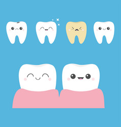 Tooth icon set shining star white yellow healthy vector