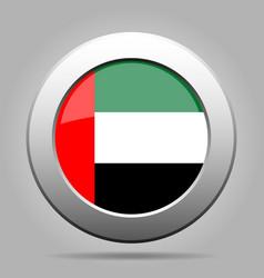 united arab emirates flag metal round button vector image