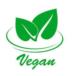 vegan flat icon with two green spring leaves on vector image