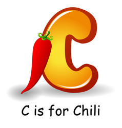 vegetables alphabet c is for chili vector image