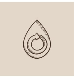 Water drop with circular arrow sketch icon vector image