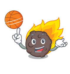 With basketball meteorite character cartoon style vector
