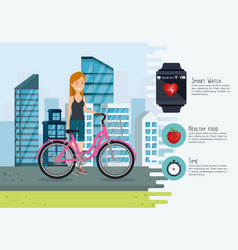 woman in bicycle with healthy lifestyle icons vector image