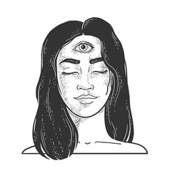 woman with three eyes sketch vector image