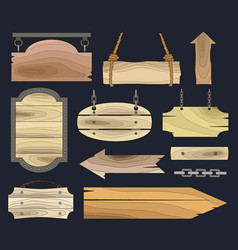 wood banners boards vector image